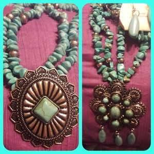 Faux Native American Squash Blossom necklace